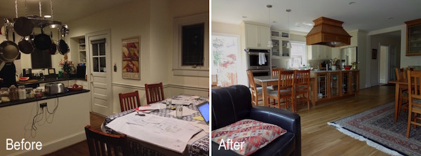 before and after kitchen dining