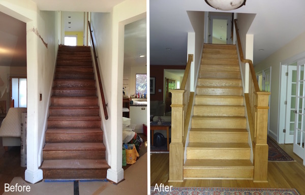 before and after stairway
