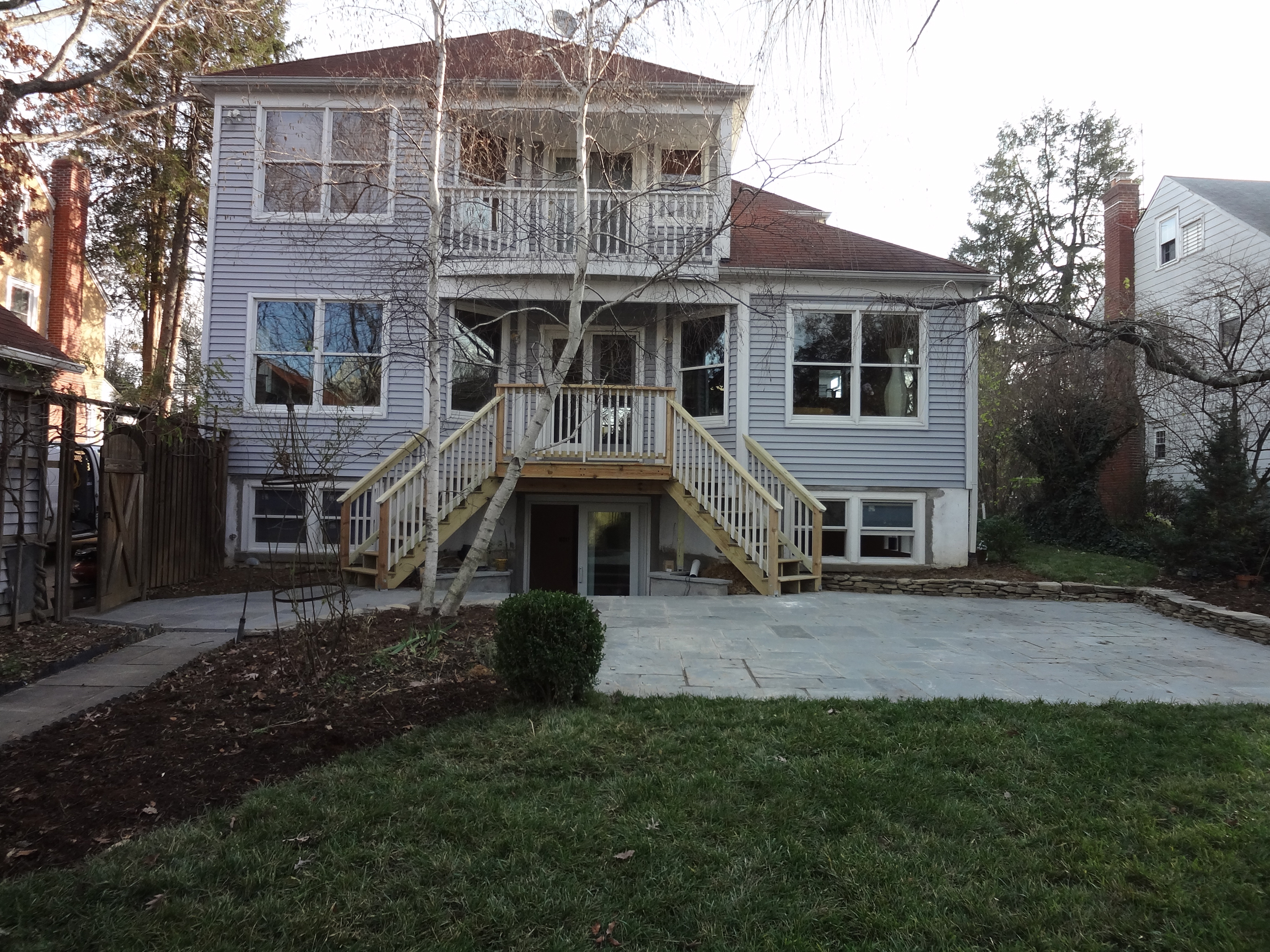 Montgomery County MD exterior hardscape, rear deck and new basement level apartment