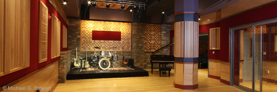 Music recording studio with instruments set up on stage